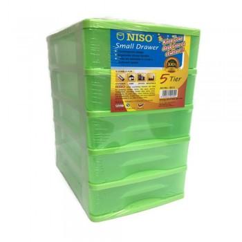 NISO 5 Tier Small Drawer Green 17 x 4.5 x 12cm