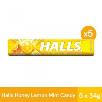 Halls Stick Honey Lemon Mint Candy (34g X 5)