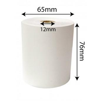 Paper Roll High White - 76mm x 65mm x 12mm (100 rolls/box)